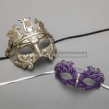 Silver Roman Greek Warrior Masquerade Mask & Purple Princess Diamond Venetian Mask - Couple