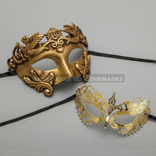 Gold Roman Greek Warrior Masquerade Mask & Gold Princess Diamond Venetian Mask - Couple