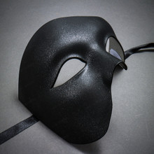 Phantom Venetian Masquerade Half Face Party Mask - Black