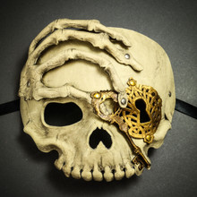 Halloween Skull with Key Venetian Masquerade Half Face Mask - White Gold