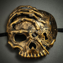 Halloween Skull with Key Venetian Masquerade Half Face Mask - Gold