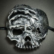 Halloween Skull with Key Venetian Masquerade Half Face Mask - Silver