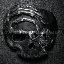Halloween Skull with Key Venetian Masquerade Half Face Mask - Silver Black