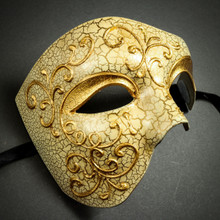Phantom of the Opera' Venetian Masquerade Mask-Gold Lining
