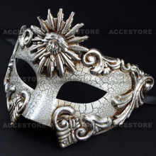 Warrior Roman Greek Sun Venetian Masquerade Cracked Mask - White Silver - 2