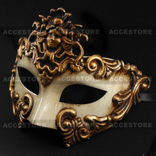 Warrior Roman Greek Metallic Venetian Masquerade Mask - White Gold - 2