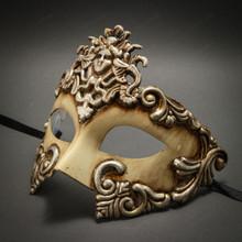 Warrior Roman Greek Metallic Venetian Masquerade Mask - White Silver