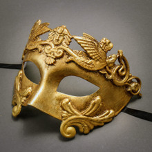 Roman Greek Emperor Warrior Venetian Mask - Metallic Gold