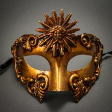 Warrior Roman Greek Sun Venetian Masquerade Mask - Metallic Gold