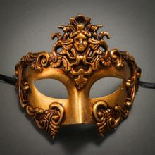 Warrior Roman Greek Metallic Venetian Masquerade Men's Half Face Mask-Gold