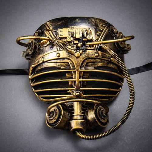 Steampunk Burning Man Gas Mask - Black Gold