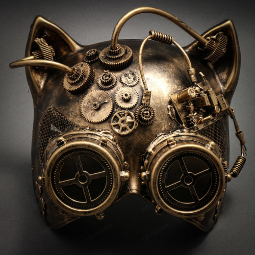 Metallic Steampunk Goggles Venetian Gatto Cat Mask Masquerade - Gold - 1