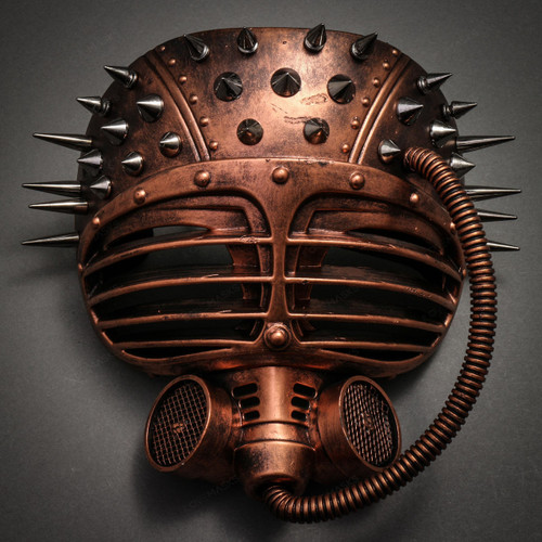 Metallic Steampunk Spike Gas Mask Full Face Masquerade Submarine - Copper - 1