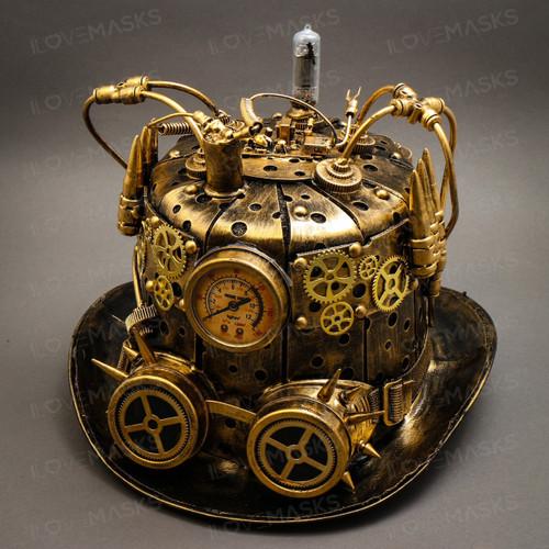 Steampunk Mad Scientist Time Traveler Top Hat - Antique Gold