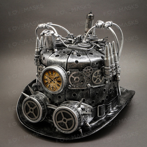 Steampunk Mad Scientist Time Traveler Top Hat - Antique Silver