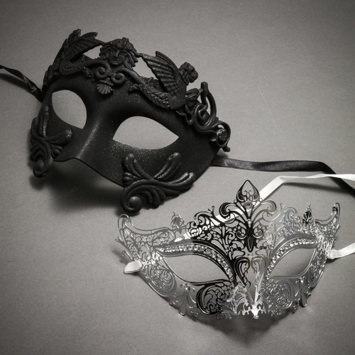 Couple's Masquerade Masks - Black Venetian Rome Greek Warrior & Silver Royal Queen Laser Cut Mask