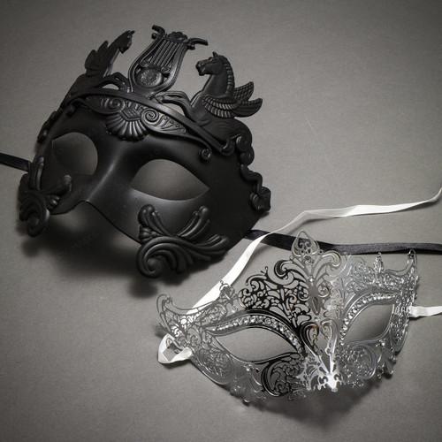 Couple's Masquerade Masks - Black Greek Roman Horse Warrior  & Silver Royal Queen Laser Cut Mask