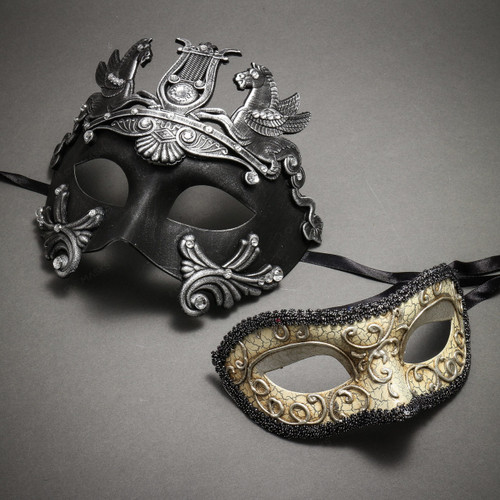 Couple's Masquerade Masks - Black Silver Roman Horse Warrior & Glitter Silver Lining Venetian Mask