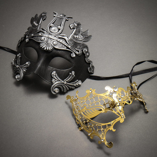 Couple's Masquerade Masks - Black Silver Greek Warrior & Gold Phantom of the Opera Laser Cut Mask