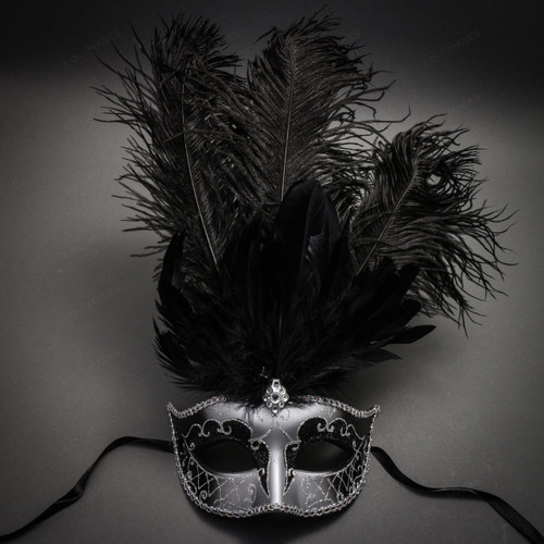 Venetian Glitter Crystal Masquerade Mask with Feather - Silver Black