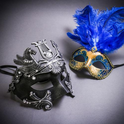 Black Silver Roman Greek Emperor with Pegasus Horses & Gold Mardi Gras Eye Mask with Top Blue Feather Couple Masks Set
