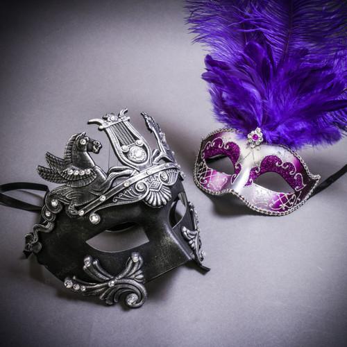 Black Silver Roman Greek Emperor with Pegasus Horses & Silver Mardi Gras Eye Mask with Top Purple Feather Couple Masks Set