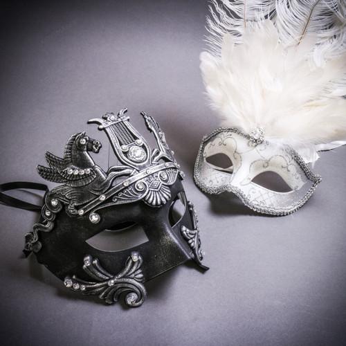 Black Silver Roman Greek Emperor with Pegasus Horses & Silver Mardi Gras Eye Mask with Top White Feather Couple Masks Set