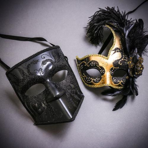 Black Glitter Full Face Bauta & Gold Black Side Feather Glitter Couple Masks Set