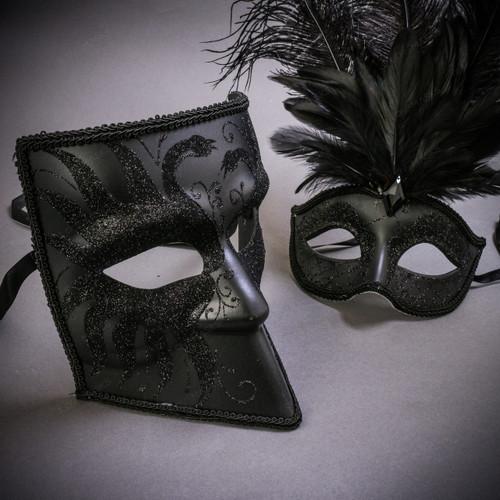 Black Glitter Full Face Bauta & Black Mardi Gras Eye Mask with Top Feather Couple Masks Set