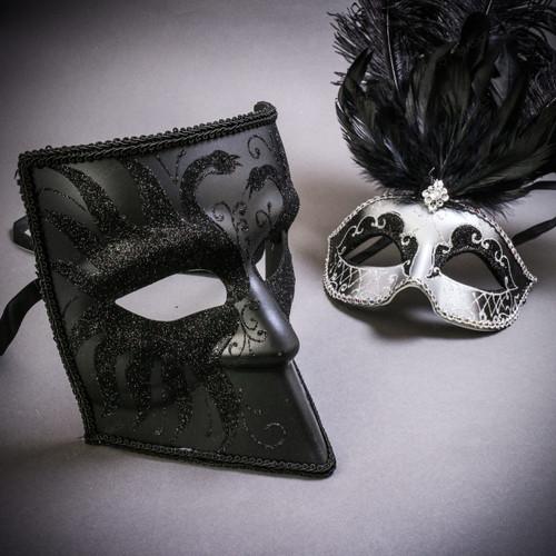 Black Glitter Full Face Bauta & Silver Mardi Gras Eye Mask with Top Black Feather Couple Masks Set