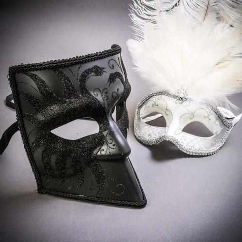 Black Glitter Full Face Bauta & Silver Mardi Gras Eye Mask with Top White Feather Couple Masks Set