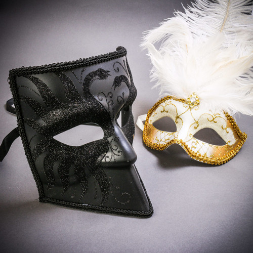 Black Glitter Full Face Bauta & Gold Mardi Gras Eye Mask with Top White Feather Couple Masks Set