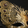 Side Butterfly Masquerade Costume Party Mask - Gold  (Detail)