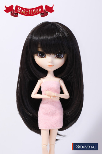 Wig:Semi-Long Hair (Natural Black)
