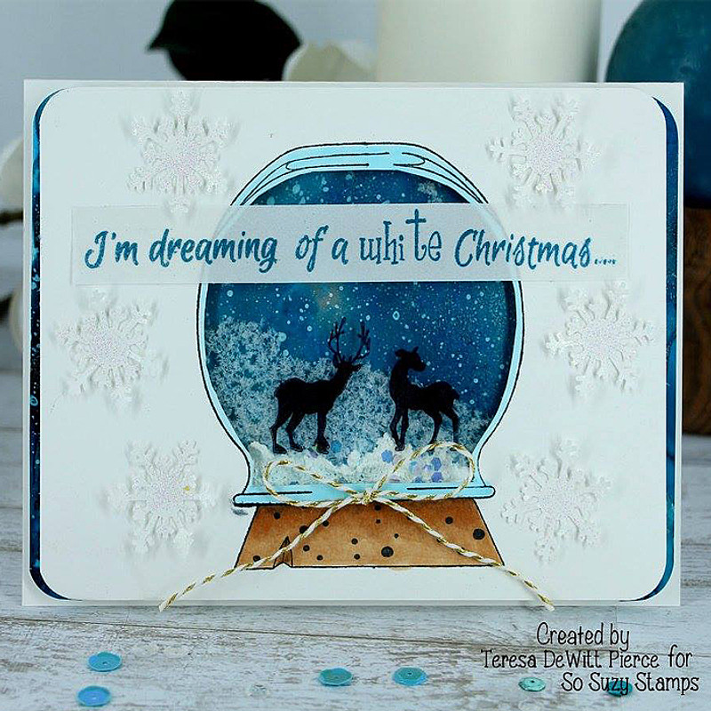 White Christmas globe by Teresa