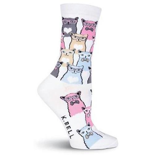 K.Bell Women's Smarty Cats Crew Socks