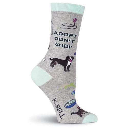 K.Bell Women's  Adopt Don't Shop Crew  Socks