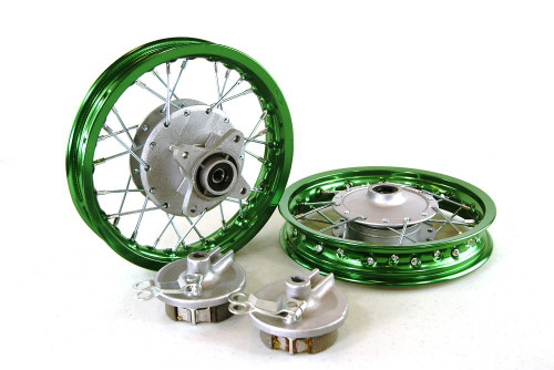 "10"" HONDA CRF50 ALUMINUM WHEELS GREEN"