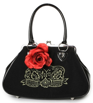 Lux De Ville Lucky Me Kiss Lock Bag Sugar Skulls