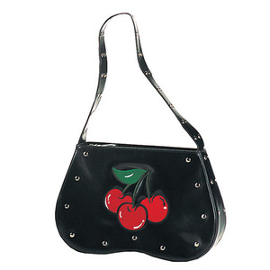 Demonia Black Polyurethane Hobo Bag with Cherries