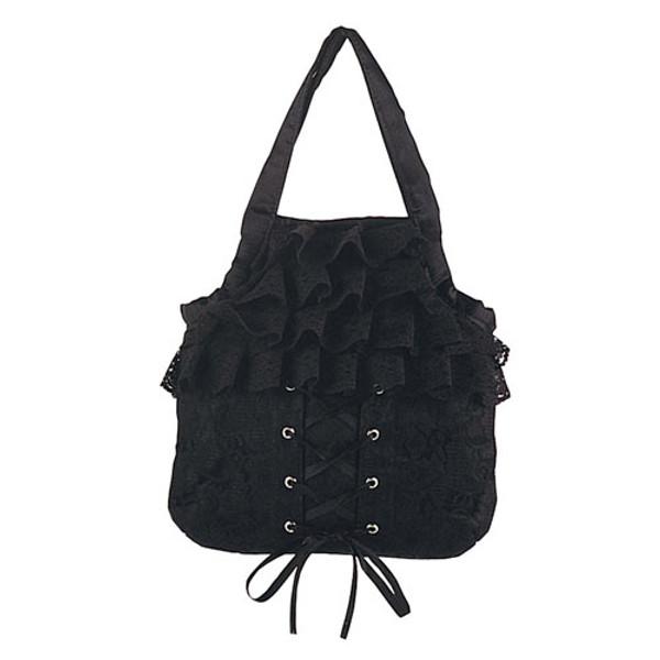 Demonia Black Satin/Black Lace Overlay Handbag