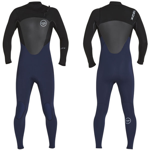 Axis X Steamer 3:2mm | X2 Chest Zip | Black / Blue Ink | Xcel Wetsuits