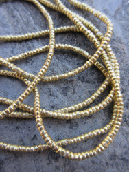 Brass Heishi Beads (2x1mm) - 2 Strands