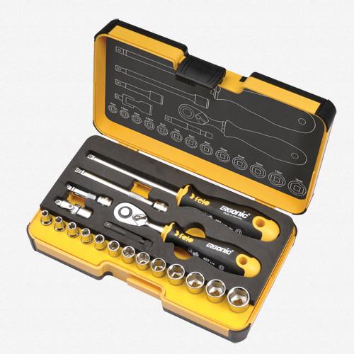 Felo 61555 R-GO 19 19pc Box Sockets, Ergonic Ratchet, Metric - KC Tool