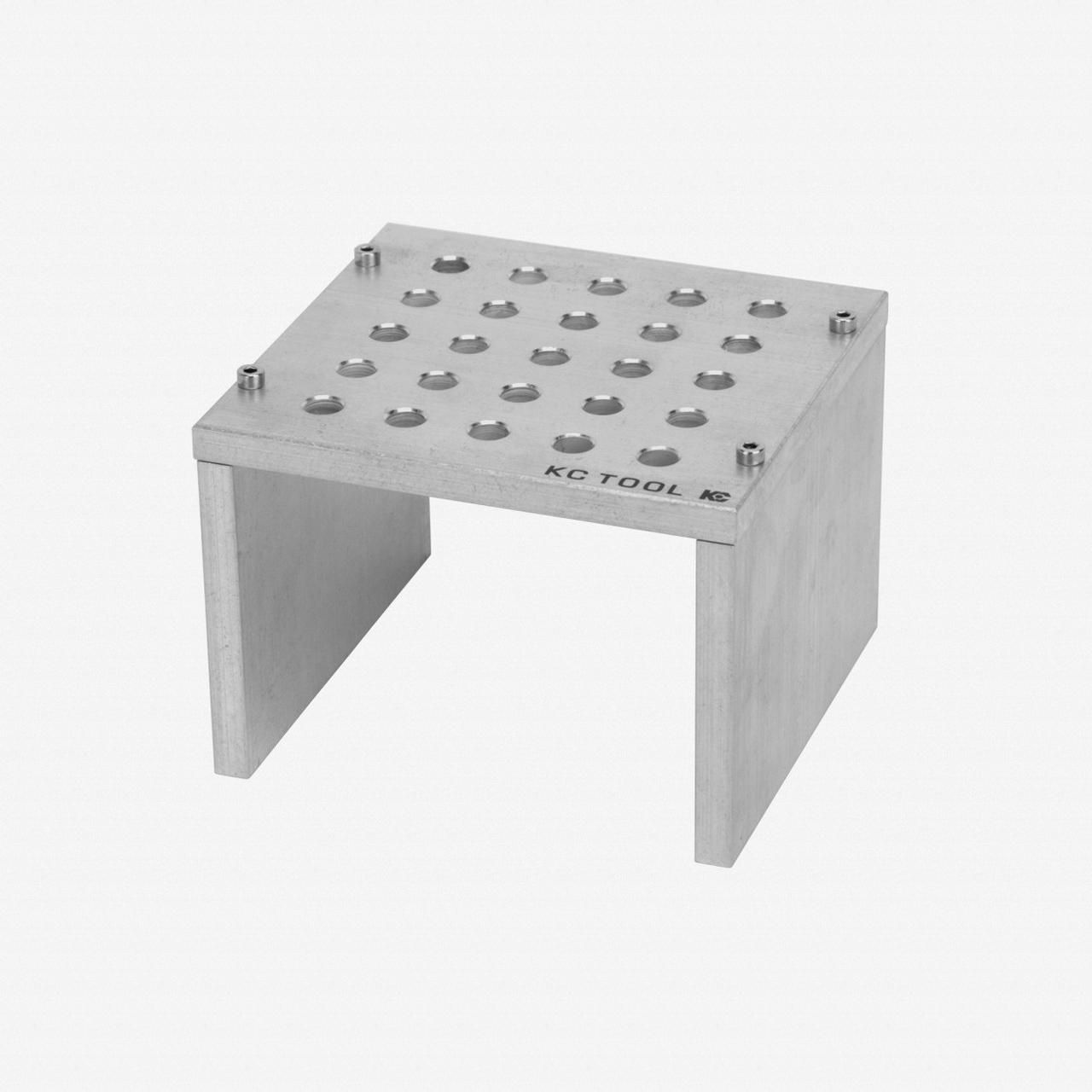 KC Tool Aluminum Bench Top Stand for Precision Tools - 25 Holes, Tumbled Finish - KC Tool