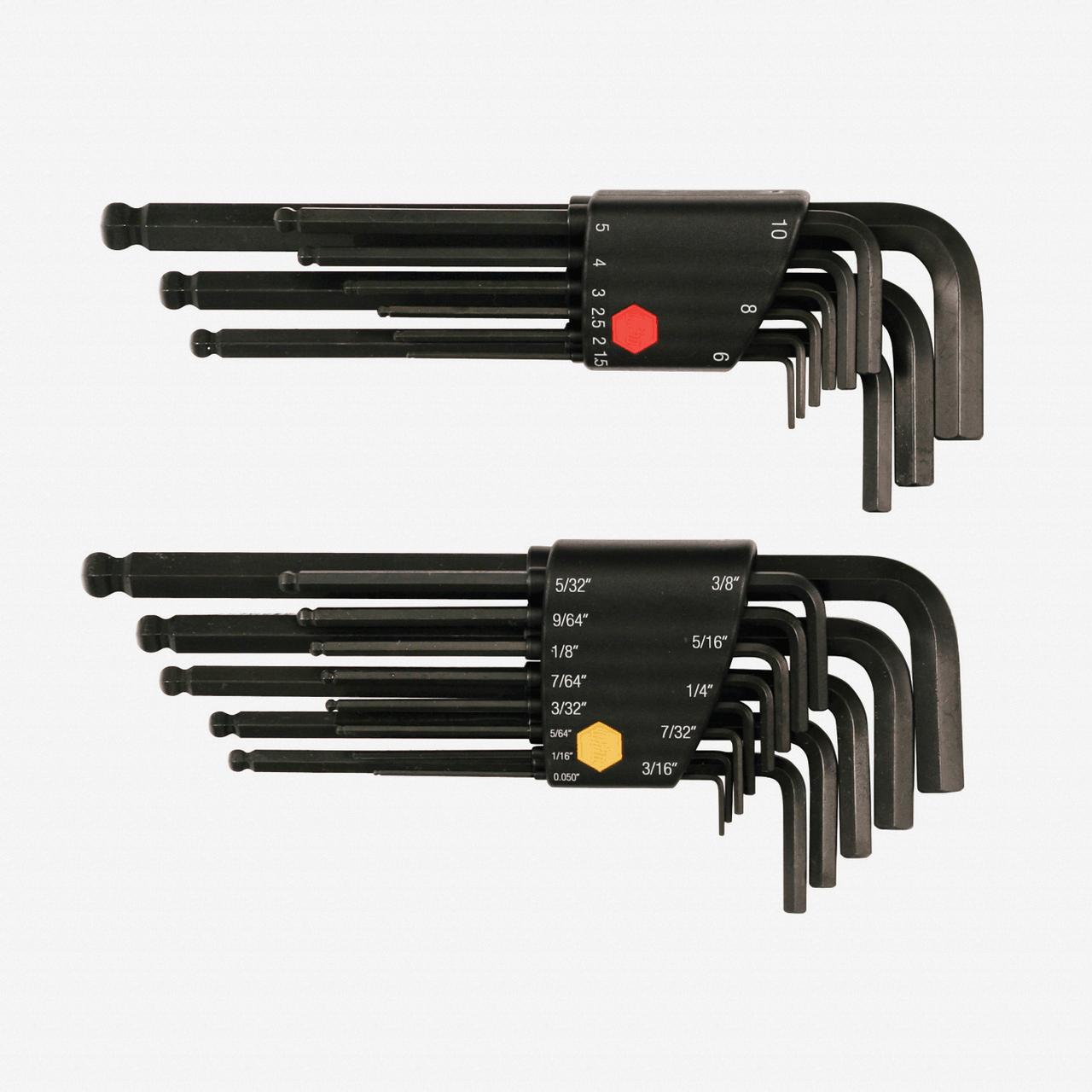 Wiha 36900 22 Piece Ball End Hex L-Key SAE and Metric Set - KC Tool