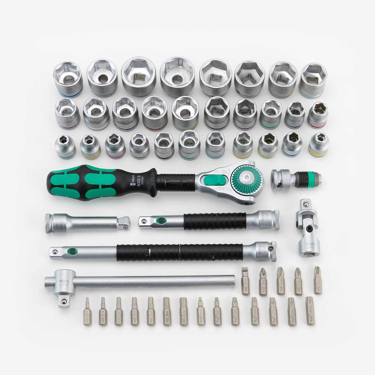 """Wera 134061 Zyklop Rachet Premium 3/8"""" Drive 55 Pc SAE/Metric Set - KC Tool"""