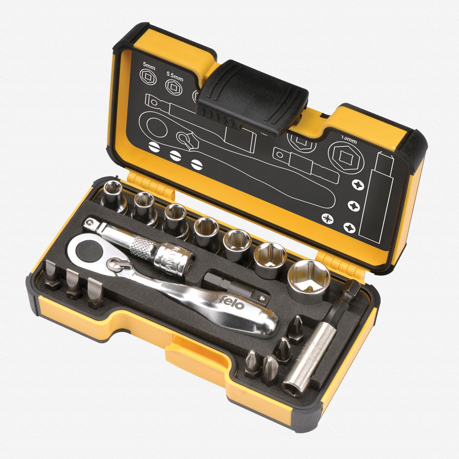 Felo 61561 XS 18pc Box Sockets, Bits, Mini Ratchet, Bitholder, Metric - KC Tool