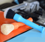 Proprietary blue short handled detailing brush by Detail Factory