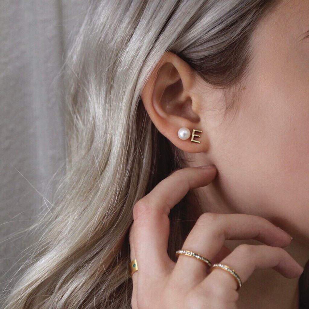 ABC Initial Earring Set 14k Gold